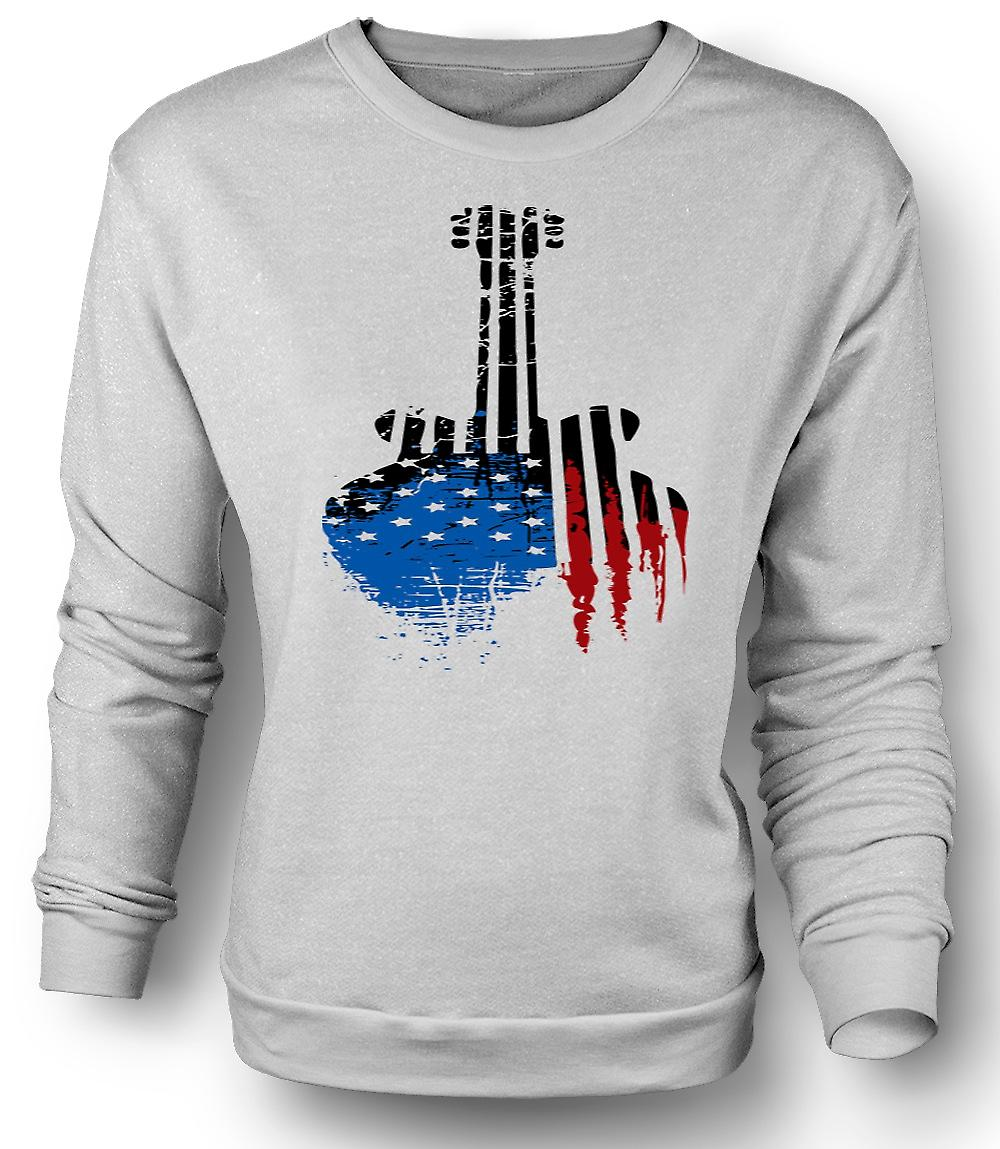 Mens Sweatshirt Gibson SG Guitar USA Flag - Grunge
