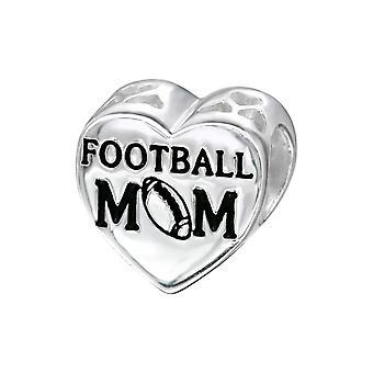 Herz Fußball Mom - 925 Sterling Silber Plain Beads - W10308X