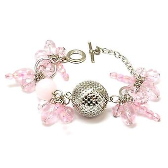 The Olivia Collection Silvertone & Pink Ball Bead Cluster 7