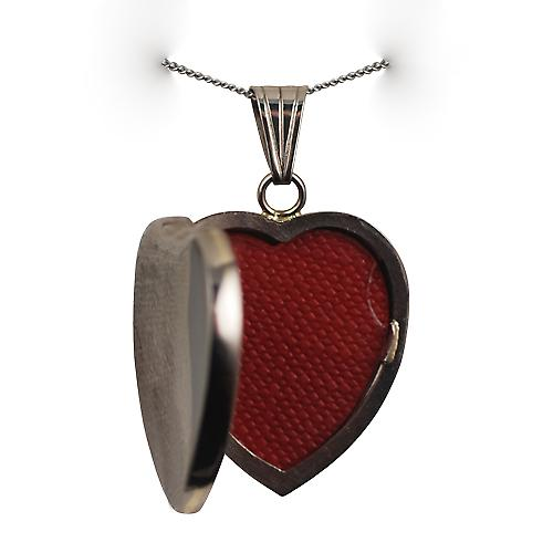 9ct White Gold 24x20mm plain heart shaped Locket with a curb Chain 18 inches