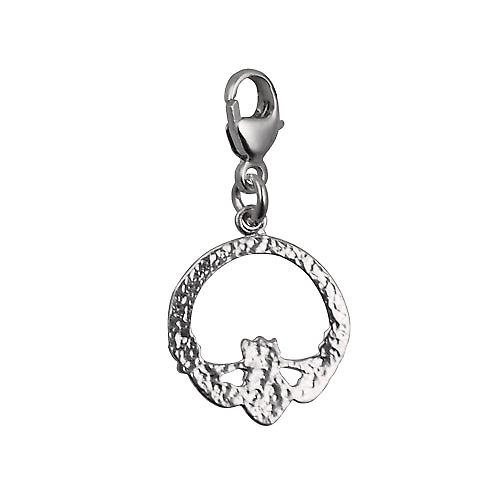 Silver 14x14mm Claddagh Charm on a lobster trigger