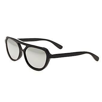 Bertha Brittany Buffalo-Horn Polarized Sunglasses - Black/Silver