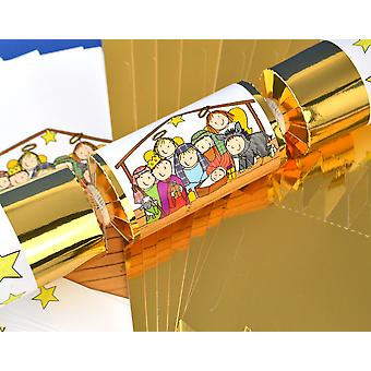 8 Gold Kids Christian Nativity Christmas Make & Fill Your Own Crackers Kit