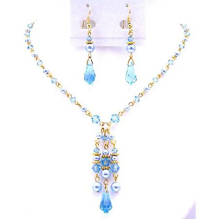 Romantic Gifts 22k Gold Plated Swarovski Blue Aquamarine Crystals Set