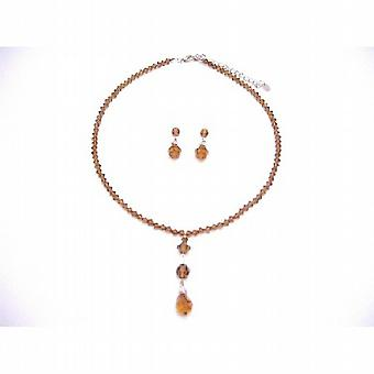 Smoked Topaz Crystals Swarovski Sterling Silver Earrings Necklace Set