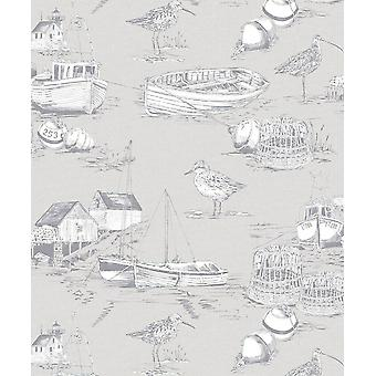 Nautical Coastal Fishing Boats Bird Wallpaper Grey Vintage Arthouse Curlew Bay
