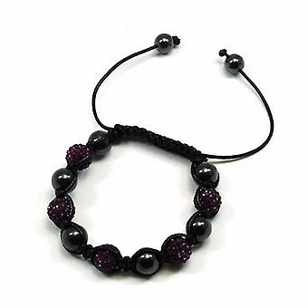 Purple Rhinestone Disco Ball Adjustable Bracelet by The Olivia Collection