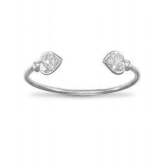 TOC Sterling Silver Crystal CZ Cubic Zirconia Heart Childrens Bangle