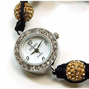 Echo Ladies Glitter Gold Hematite Disco-balla Bracelet Watch