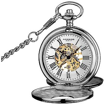 Akribos XXIV Men's Antique Mechanical Skeleton Chain Pocket Watch AK609SS