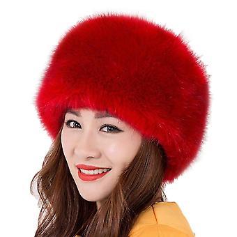 Women's faux fur winter warm russian style hat