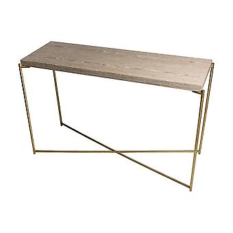 Gillmore Space Weathered Oak Large Console Table With Brass Cross Base