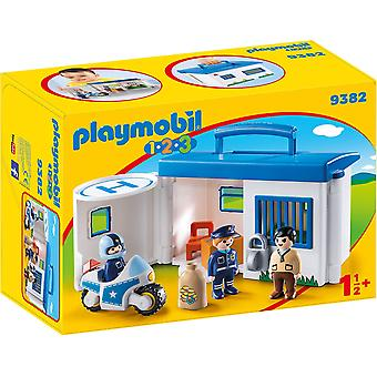 Playmobil 9382 1.2.3 Take Along Police Station Lockable Prison Cells
