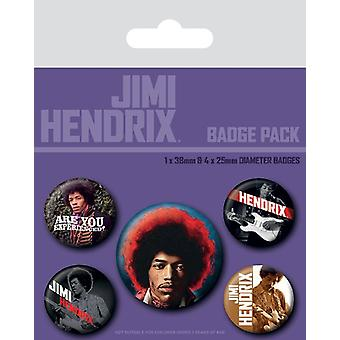 Jimi Hendrix Are You Experienced pack of 5 round Pin Badges (py)