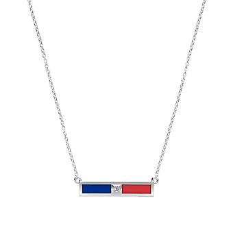Louisiana Tech University Diamond Bar Necklace In Blue And Red