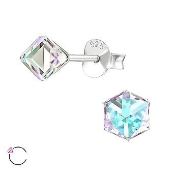 Cube crystal from Swarovski® - 925 Sterling Silver Ear Studs - W39192X