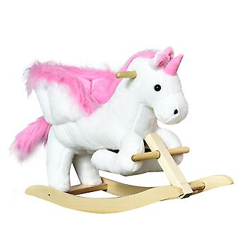 HOMCOM Rocking Ride On Unicorn Animal Plush Musical Lullaby Button w/ Wide Seat High Back Footrest Handlebar White Pink Soft Seat with High Back Pink