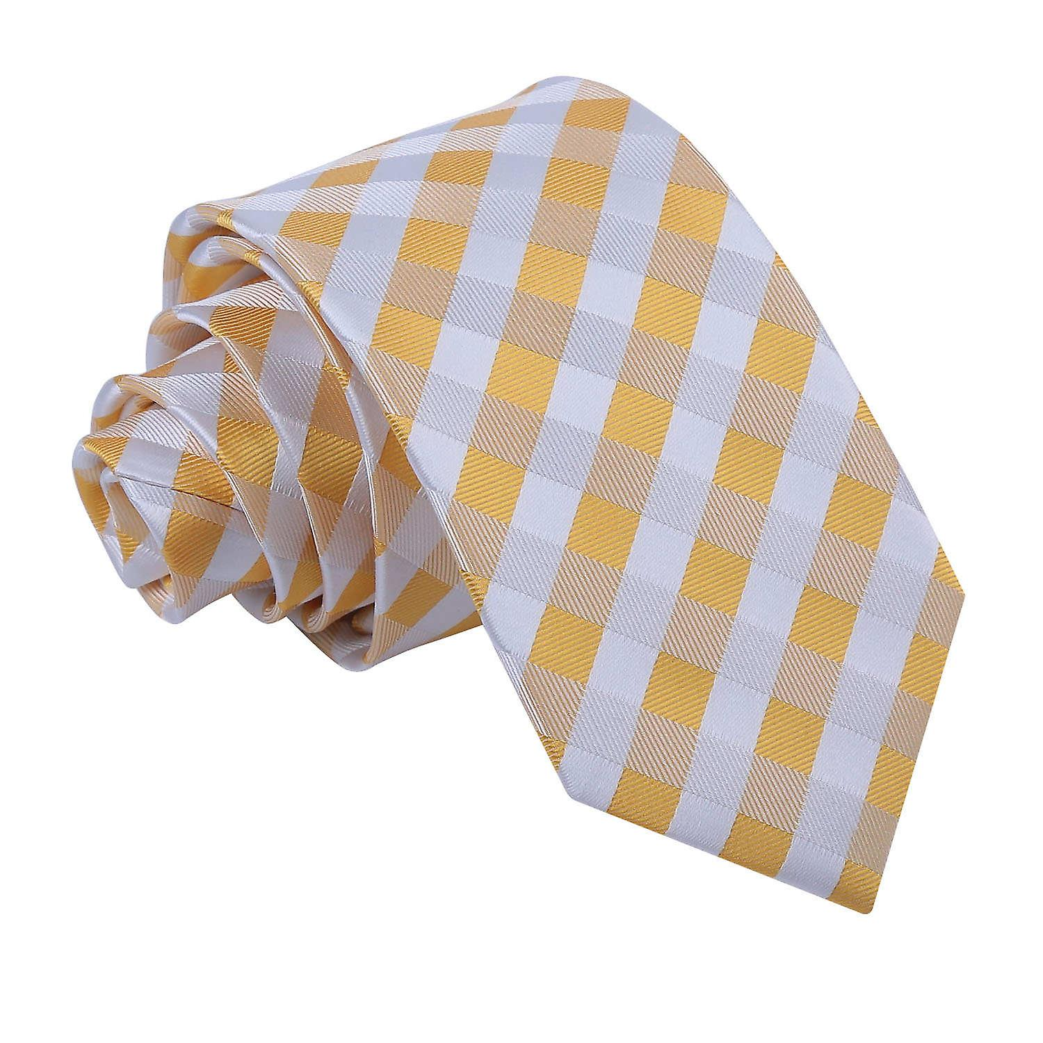 Gingham Check Sunflower Gold Slim Tie