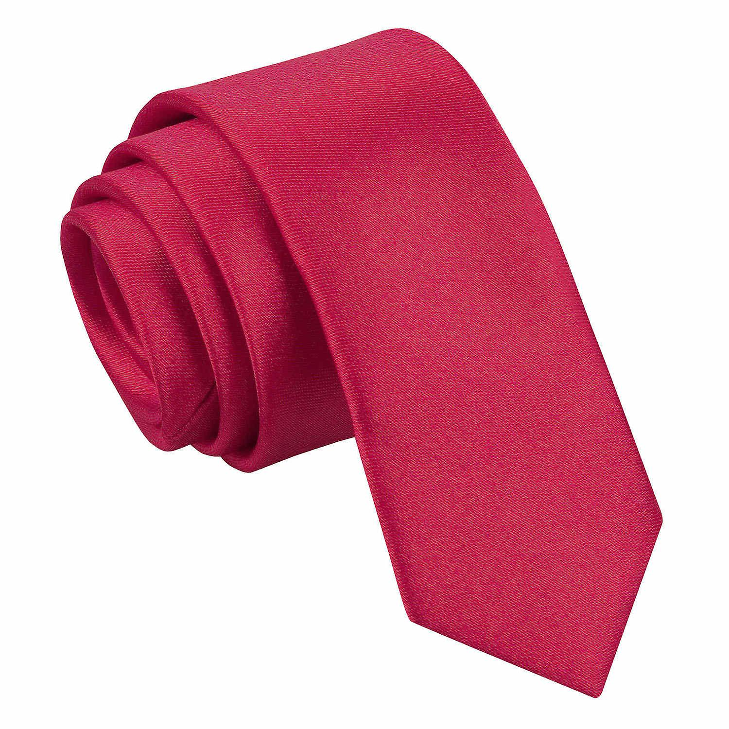 Plain Crimson Red Satin Skinny Tie