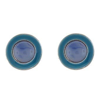 Clip On Earrings Store Blue  and  Purple Stone Enamel Circle Button Clip on Earrings