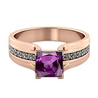 Amethyst 2.20 Ctw Ring mit Diamanten 14K Rose Gold Bridge Kanal set Prinzessin