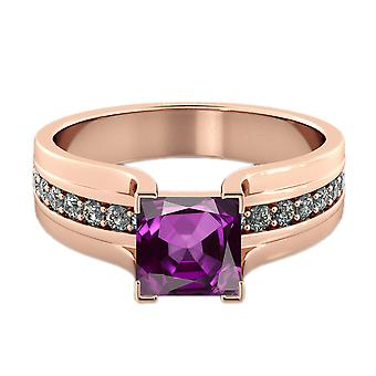 Amethyst 2.20 ctw Ring with Diamonds 14K Rose Gold Bridge Channel set Princess