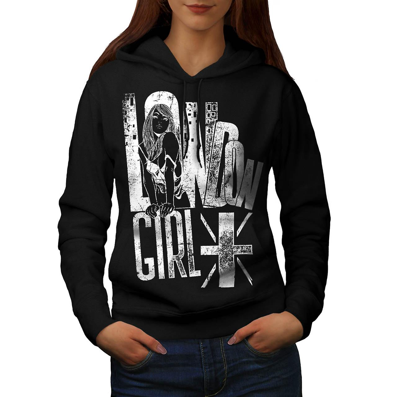 Girl Slogan Flag London Women Black Hoodie | Wellcoda