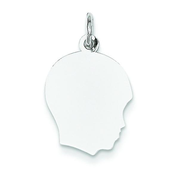 14k blanc or Solid Polished Engravable Plain Med Facing Right Engraveable Boy Charm - 1.0 Grams