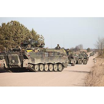 Marder infantry fighting vehicles of the German Army training for Afghanistan deployment during Exercise Bora at Letzlingen Army Training Center Germany Poster Print