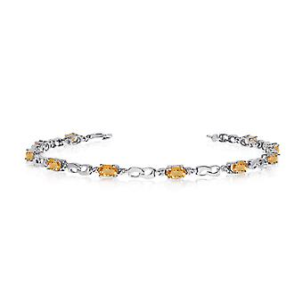14K White Gold Oval Citrine and Diamond Link Bracelet