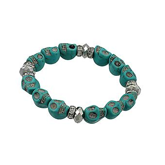 Turquoise Skull Bead Stretch Bracelet Rhinestone Accents