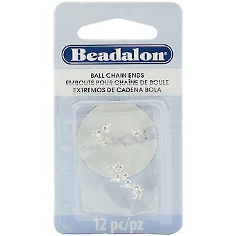 Ball Chain Ends 2.4mm 12/Pkg-Silver Plated 338-B201