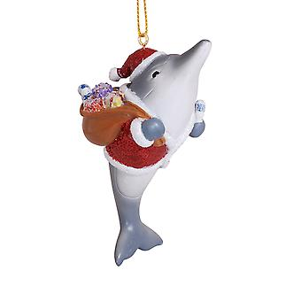 Jolly Dolphin Santa with Sack of Toys Resin Christmas Holiday Ornament