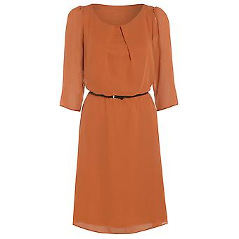 Womens belted flowy chiffon dress DR880-Orange-12