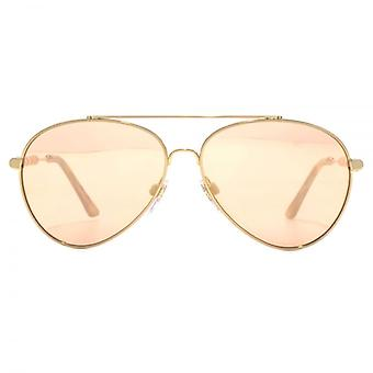 Burberry Fabric Temple Pilot Sunglasses In Gold Rose Gold Mirror
