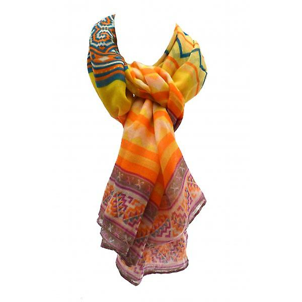 W.A.T  Bright Yellow Multi Coloured Geometric Print Scarf