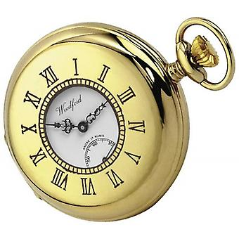 Woodford Gold Plated Half Hunter Swiss Pocket Watch - Gold