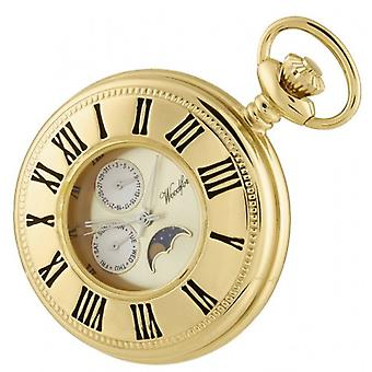 Woodford Gold Plated Quartz Moon Dial Pocket Watch - Gold