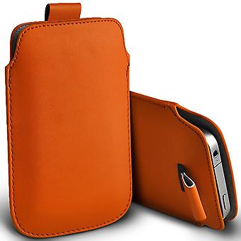 Microsoft Lumia 550 Slip In Pull Tab Faux Leather Pouch Case Cover (Orange)