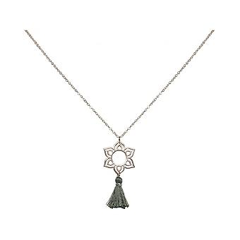 Ladies - - pendant - necklace 925 Silver - Lotus Flower - mandala - tassel - grey - YOGA - 45 cm
