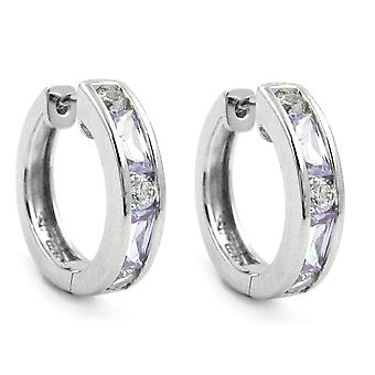 Round hinge Creole silver cubic zirconia white/amethyst Creole 925 sterling silver