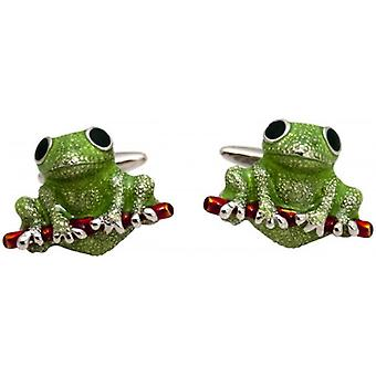 Zennor Frog Cufflinks - Green/Red