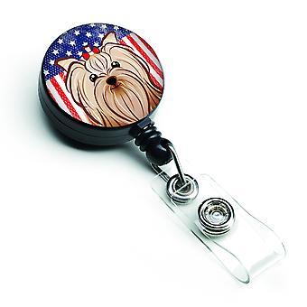 Carrete retráctil insignia bandera americana y Yorkie Yorkishire Terrier