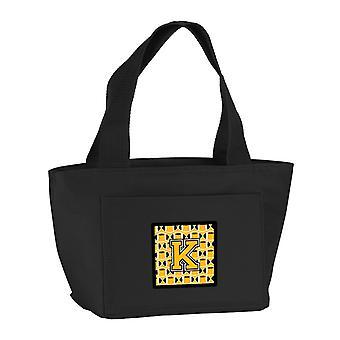 Lettera K calcio nero, oro vecchio e bianco Lunch Bag