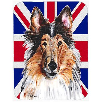 Collie with English Union Jack British Flag Mouse Pad, Hot Pad or Trivet