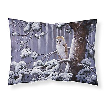 Owl on a Tree Branch in the Snow Fabric Standard Pillowcase