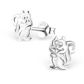 Squirrel - 925 Sterling Silver Plain Ear Studs