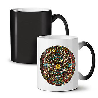Aztec Traditional NEW Black Colour Changing Tea Coffee Ceramic Mug 11 oz | Wellcoda