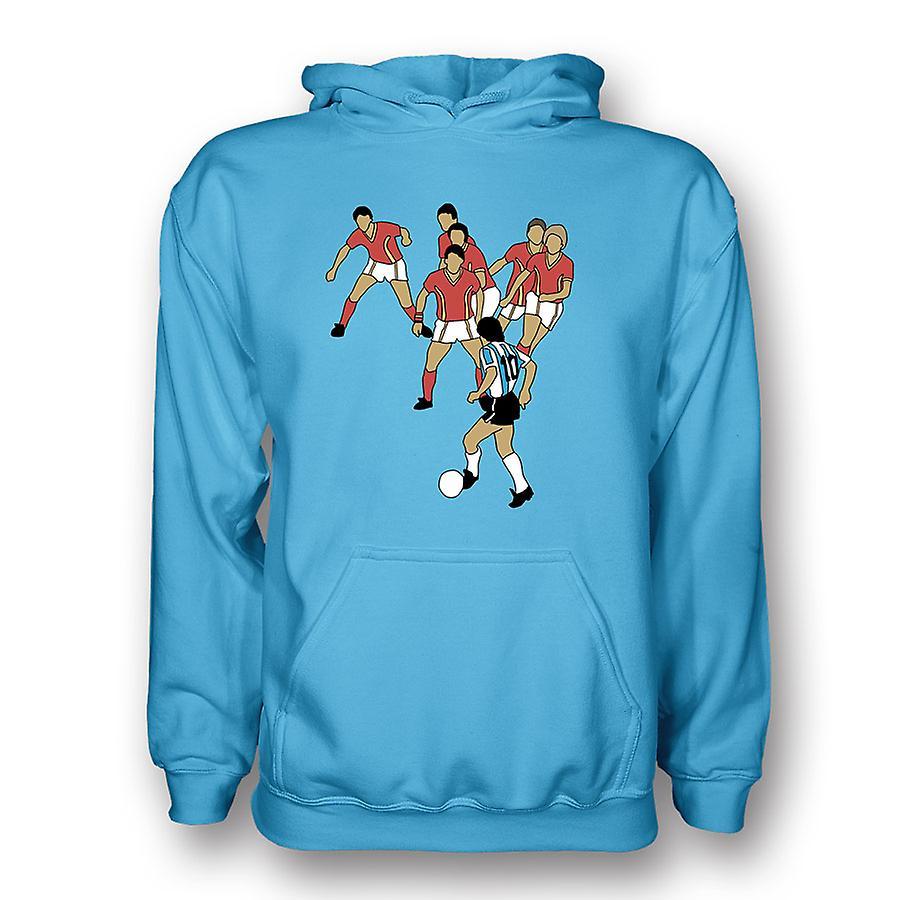 Diego Maradona Goal Of Century Hoody (sky) - Kids