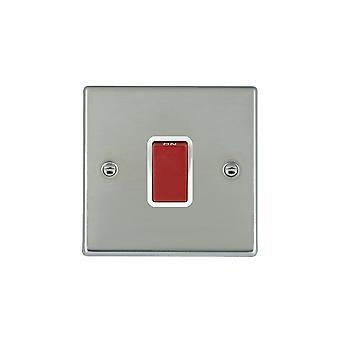 Hamilton Litestat Hartland Bright Stainless Chrome 1g 45A Double Pole Red Rocker/WH